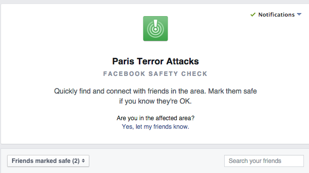 facebook features for paris attack