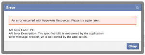 """Facebook """"Page Error"""""""