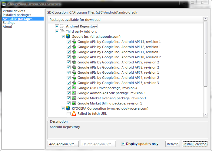 Installing Android SDK on NetBeans