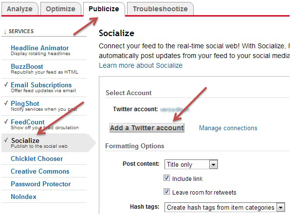 feedburner auto publish to twitter