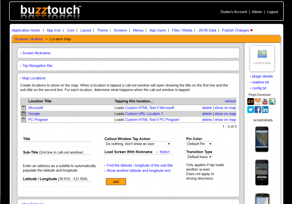 making app with Buzztouch