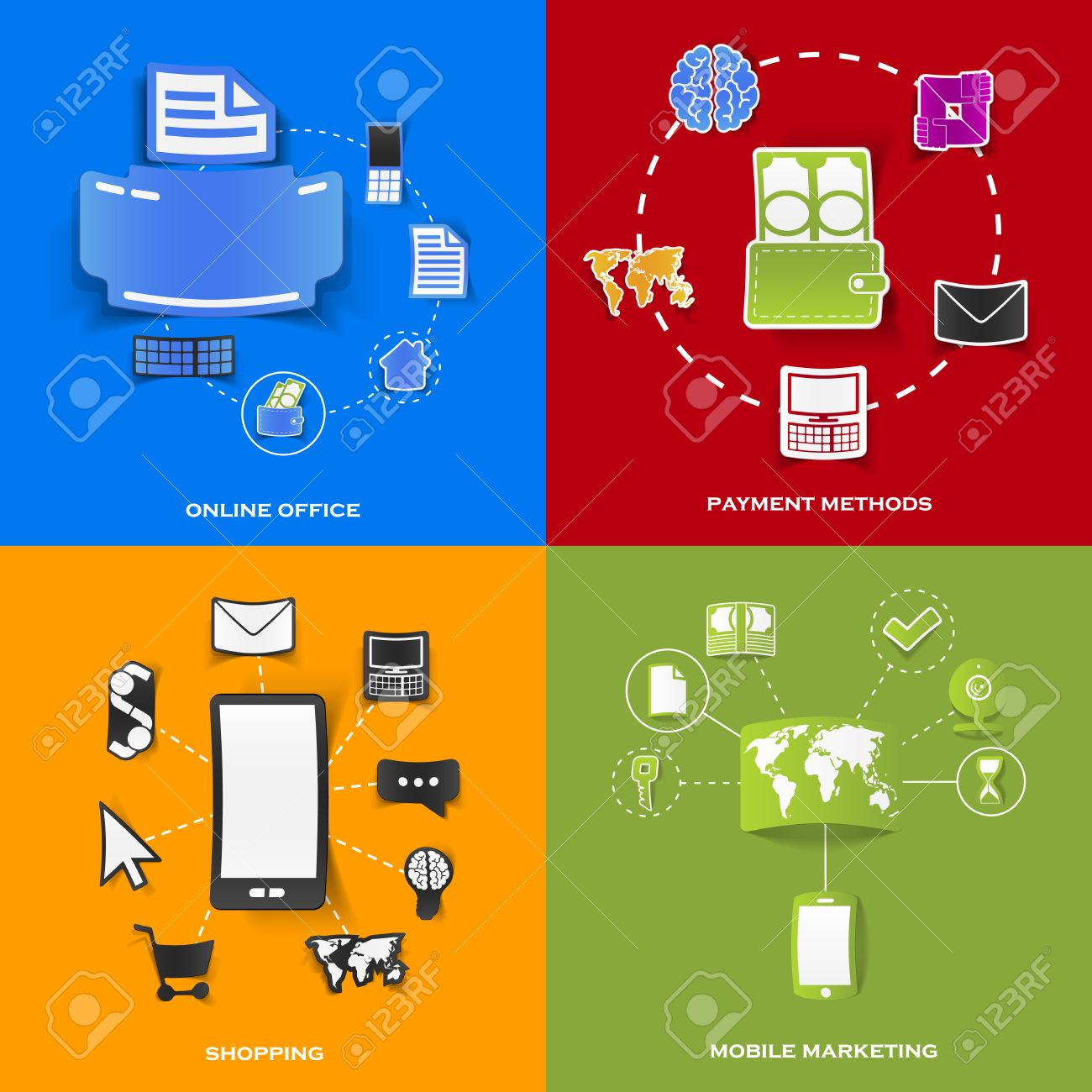Set of modern stickers. Concept of online office, payment methods, shopping, mobile marketing. Vector eps10 illustration