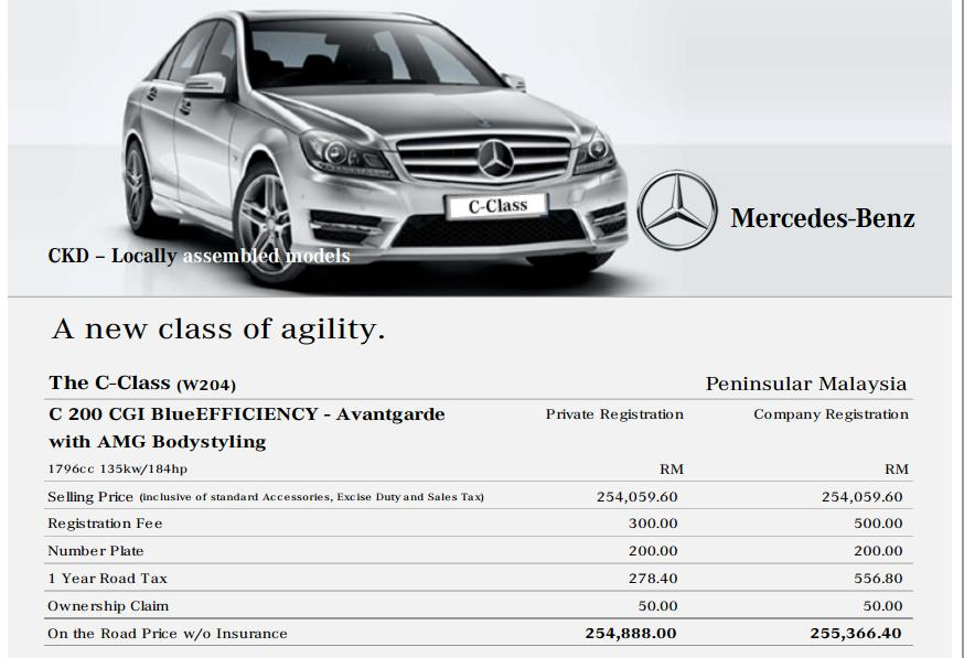 Mercedes Benz C Class Specification