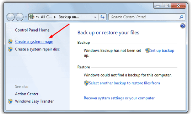 Restore files from a backup