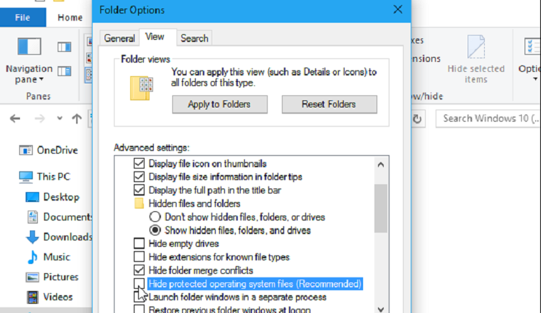 Show hidden files folders and drives