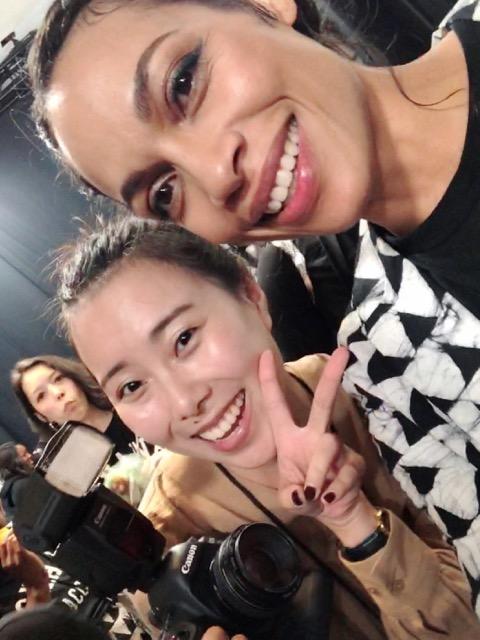 Jiayi backstage at NYFW with Rosario Dawson